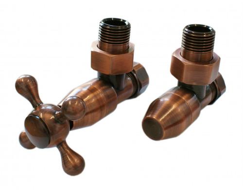 Термостатический комплект Elegant Style 6048 для стали GZ 1/2 x GW 1/2 с угловой формой, медь антик, с деревом